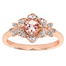 Load image into Gallery viewer, Floral Morganite Diamond Ring in 14K Rose Gold (5mm)