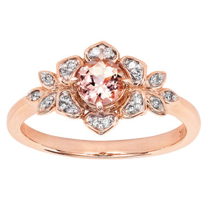 Floral Morganite Diamond Ring in 14K Rose Gold (5mm)