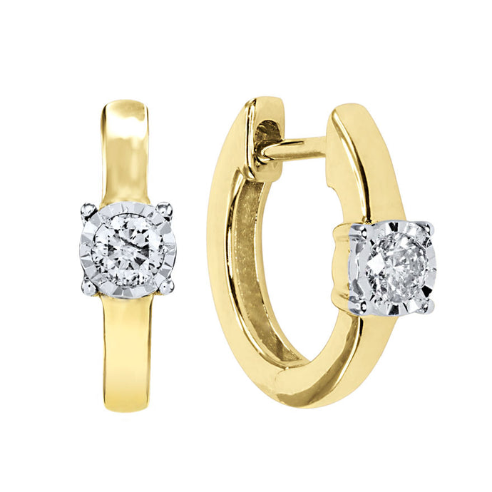 Diamond Hoop Earrings In 10K Yellow and White Gold (0.13 ct tw)
