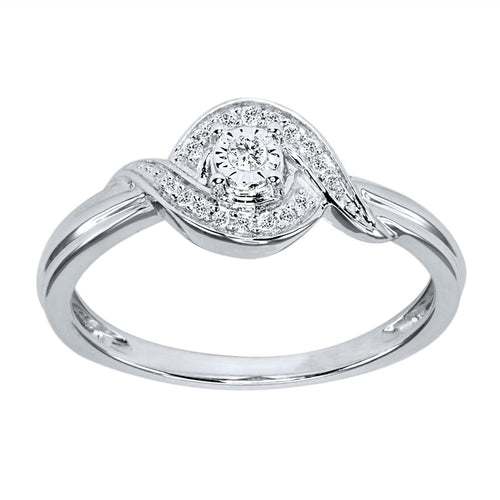 Diamond Cluster Promise Ring in 10K White Gold (0.07 ct tw)