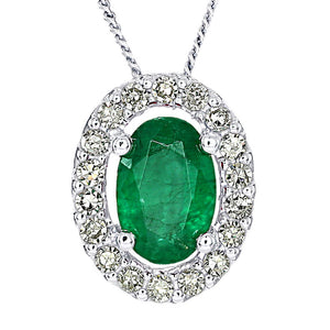 Oval Emerald and Diamond Halo Necklace in 10K White Gold (0.12ct tw)