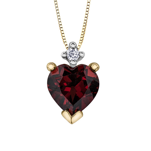 Heart Shape Diamond and Garnet Pendant in 10K Yellow Gold