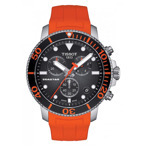 Tissot Seastar 1000 Chronograph In Black Dial and Orange Strap
