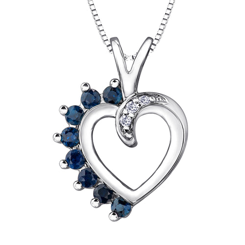 Heart Shape Sapphire and Diamond Pendant in 10K White Gold