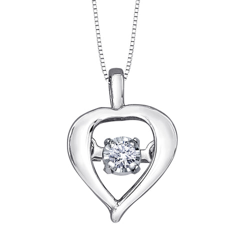 Heart Shape 10K White Gold Dancing Diamond Pendant (0.02ct tw)