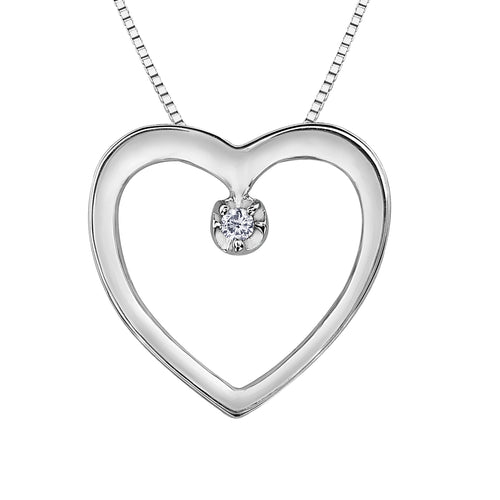 Timeless Diamond Heart Shape Pendant In 10K White Gold (0.01 ct wt)