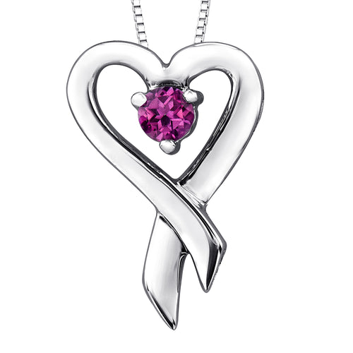 Heart Shape Pink Topaz Pendant Crafted In 10K White Gold