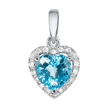 Load image into Gallery viewer, Heart Shaped Blue Topaz and Diamond Pendant in 14K White Gold