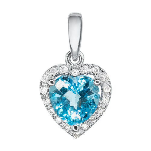 Heart Shaped Blue Topaz and Diamond Pendant in 14K White Gold