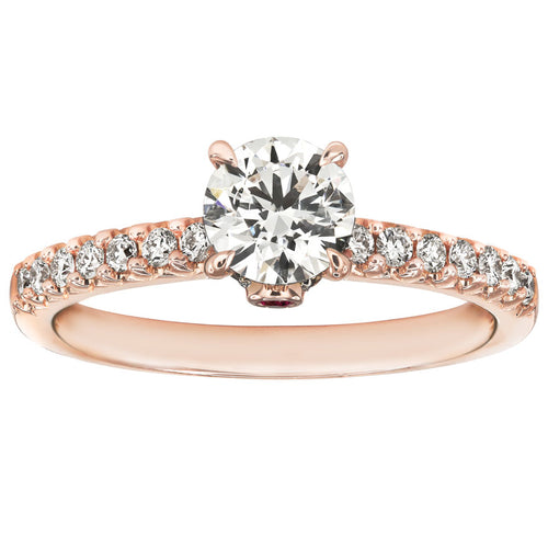Lumina Ideal Cut Diamond Engagement Ring with Ruby Accent in 18K Rose Gold (0.97ct tw)