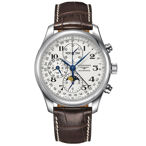Swiss Chronograph Longines Leather Strap Mens Timepiece