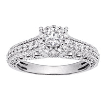 Load image into Gallery viewer, 14K White Gold Vintage Inspired Diamond Engagement Ring (0.75 ct tw)