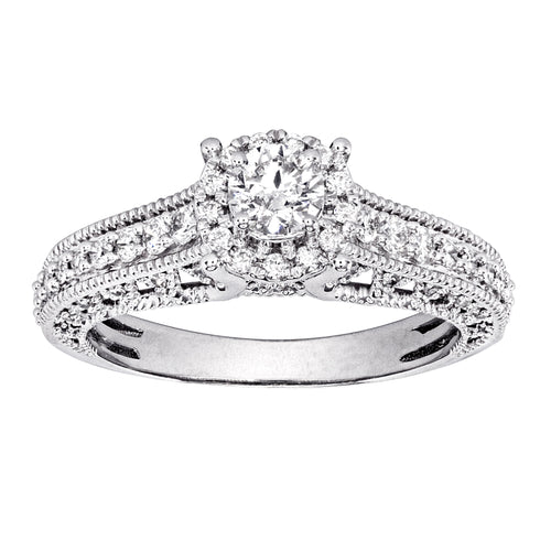 14K White Gold Vintage Inspired Diamond Engagement Ring (0.75 ct tw)