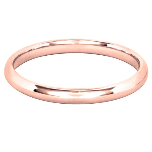 Low Dome Comfort Fit Wedding Band in 14K Rose Gold (2MM)