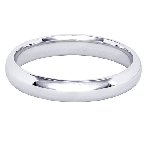 Low Dome Comfort Fit Wedding Band in 14K White Gold (3MM)
