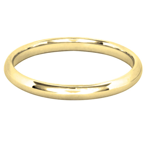 Low Dome Comfort Fit Wedding Band in 14K Yellow Gold (2MM)