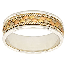 Load image into Gallery viewer, Mens Woven Comfort Fit Wedding Band 14K White, Yellow and Rose Gold (7mm)