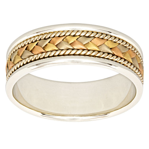 Mens Woven Comfort Fit Wedding Band 14K White, Yellow and Rose Gold (7mm)