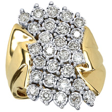 Load image into Gallery viewer, One Carat Miracle Mark Diamond Dinner Ring in 10K Yellow Gold