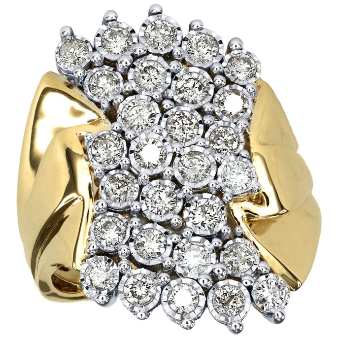 One Carat Miracle Mark Diamond Dinner Ring in 10K Yellow Gold