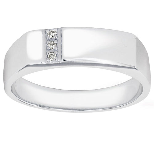 Men's Modern 10K White Gold Ring Set With Diamonds (0.02ct tw)