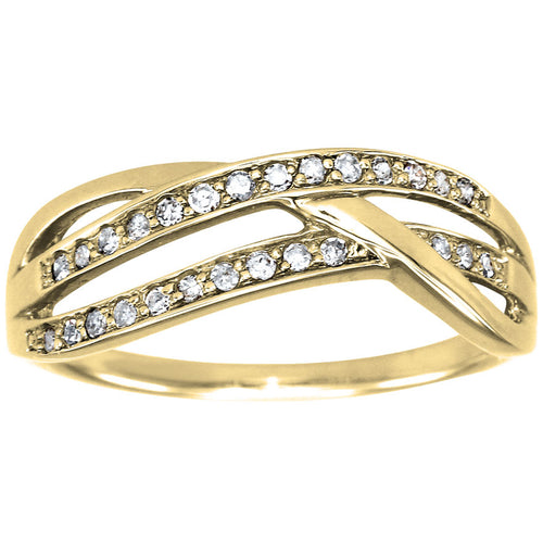 Multi-Strand Diamond Wedding Band in 10K Yellow Gold (0.15ct tw)
