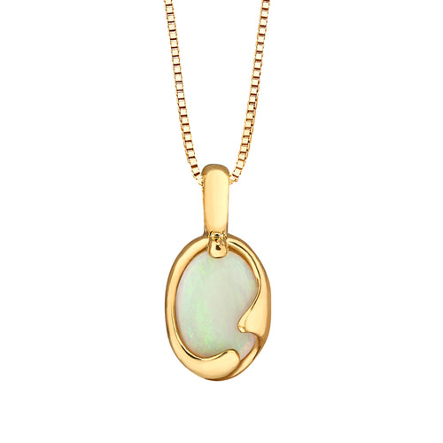 Oval Opal Pendant Crafted In 10K Yellow Gold