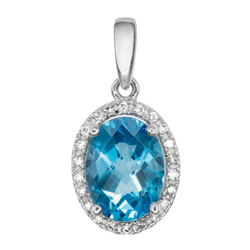 Oval Blue Topaz and Diamond Pendant in 14K White Gold