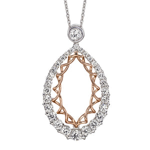 One Carat Oval Diamond Pendant in 10K Rose and White Gold