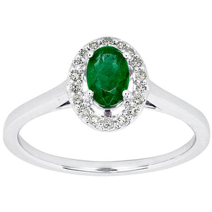 Oval Emerald and Diamond Halo Ring in 10K White Gold (0.12 ct tw)