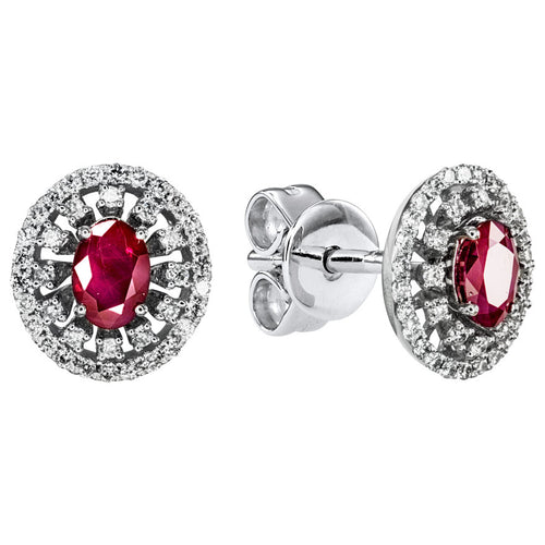 Oval Ruby (4x6mm) And Double Halo Diamond Earrings In 10K White Gold