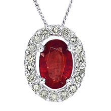 Load image into Gallery viewer, Oval Ruby and Diamond Halo Necklace in 10K White Gold (0.12ct tw)