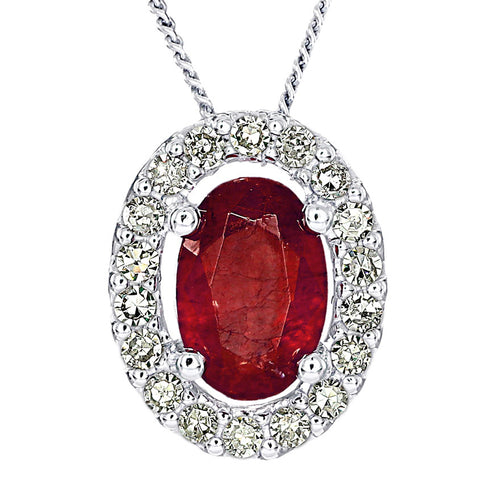 Oval Ruby and Diamond Halo Necklace in 10K White Gold (0.12ct tw)