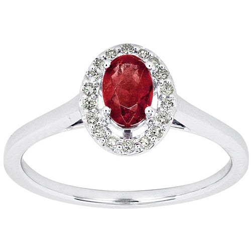 Oval Ruby and Diamond Halo Ring in 10K White Gold (0.12 ct tw)