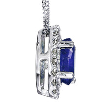 Load image into Gallery viewer, Oval Sapphire and Diamond Halo Necklace in 10K White Gold (0.12ct tw)