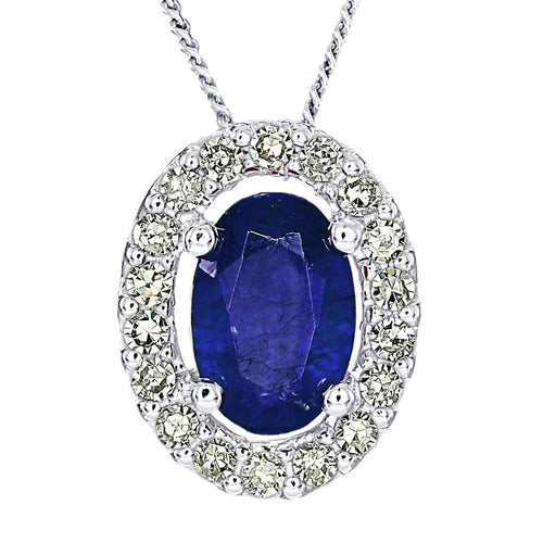 Oval Sapphire and Diamond Halo Necklace in 10K White Gold (0.12ct tw)
