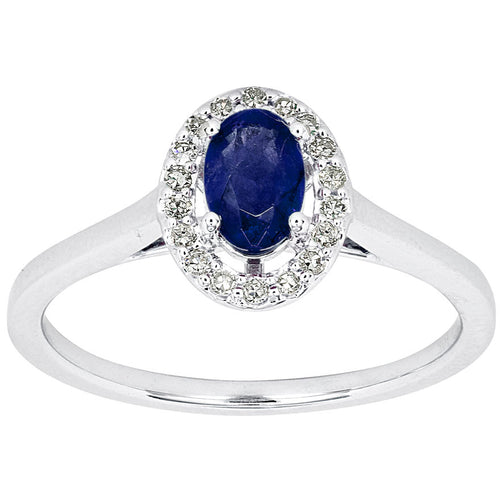 Oval Sapphire and Diamond Halo Ring in 10K White Gold (0.12 ct tw)