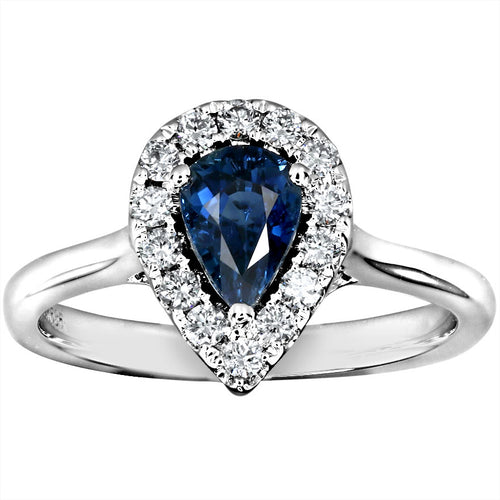 Pear Shape Sapphire and Diamond Halo Ring in 14K White Gold