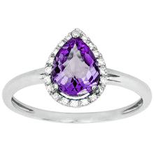 Load image into Gallery viewer, Pear Shaped Amethyst and Diamond Ring in 14K White Gold