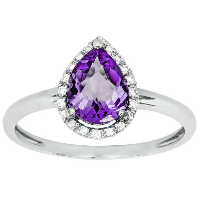 Pear Shaped Amethyst and Diamond Ring in 14K White Gold