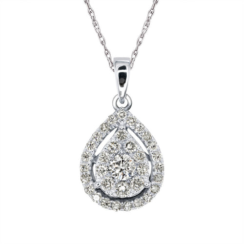 Pear Shaped Diamond Cluster Necklace in 10K White Gold (0.35ct tw)