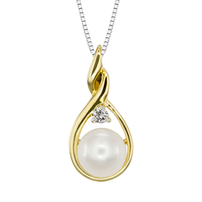 Pearl and Diamond Drop Necklace in 10K Yellow Gold (0.03ct tw)