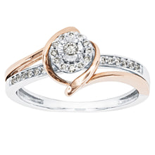 Load image into Gallery viewer, Petite Cluster Centre Ring in 10K White and Rose Gold (0.15ct tw)