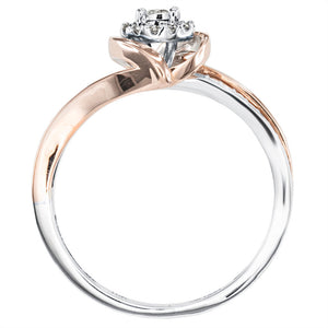 Petite Cluster Centre Ring in 10K White and Rose Gold (0.15ct tw)