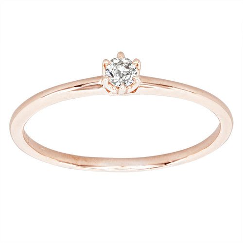 Petite Solitaire Diamond Ring in 10K Rose Gold (0.07ct tw)