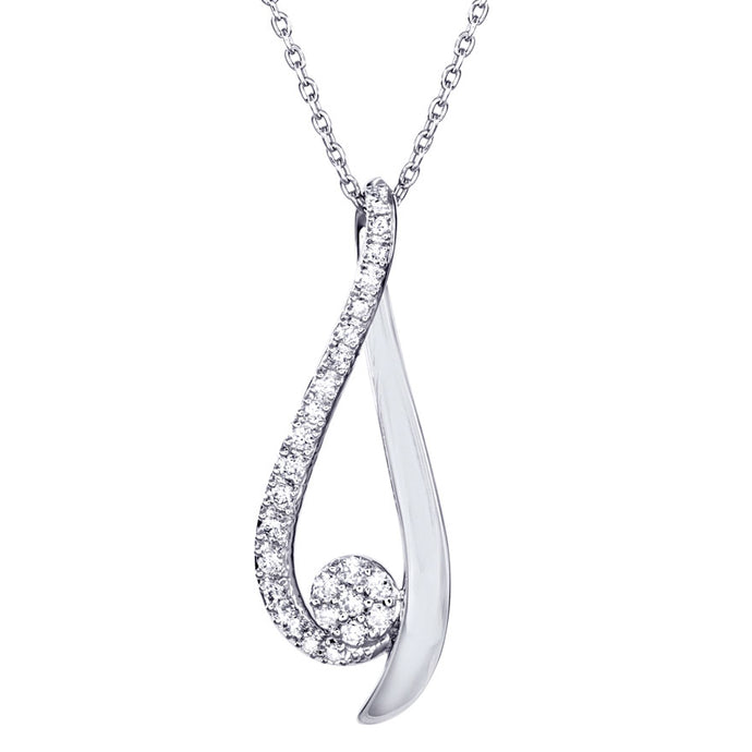 Ribbon Pendant Necklace with Diamonds in 10K White Gold (0.15ct tw)