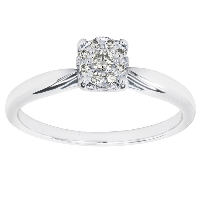 Ring in 10K White Gold with Diamonds Set in a Cluster (0.13ct tw)