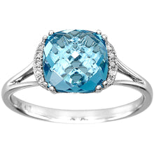 Load image into Gallery viewer, Rose Cut Blue Topaz and Diamond Ring in 10K White Gold (0.04ct tw)