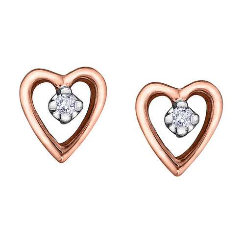 10K Heart Shape Rose Gold Diamond Earrings (0.02 ct tw)