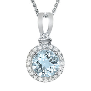 Round Aquamarine and Halo Diamond Pendant Necklace in 10K White Gold